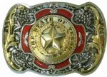 The State of Texas Star Gold and Sliver Plated Belt Buckle. Code FH1